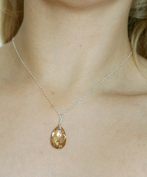 Anna.Golden Shadow Swarovski Crystals Necklace (sterling silver)
