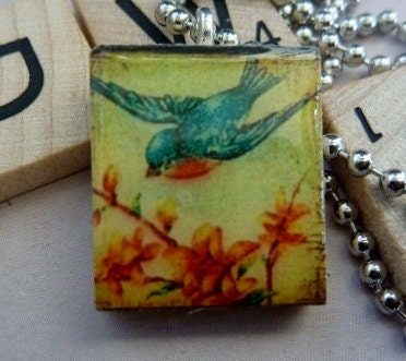 Scrabble Tile Pendant-Bluebird in Flight-(A50)  Buy 3 Get 1 Free on all ScrabbleTile Pendants - loveofcharmsbydlt