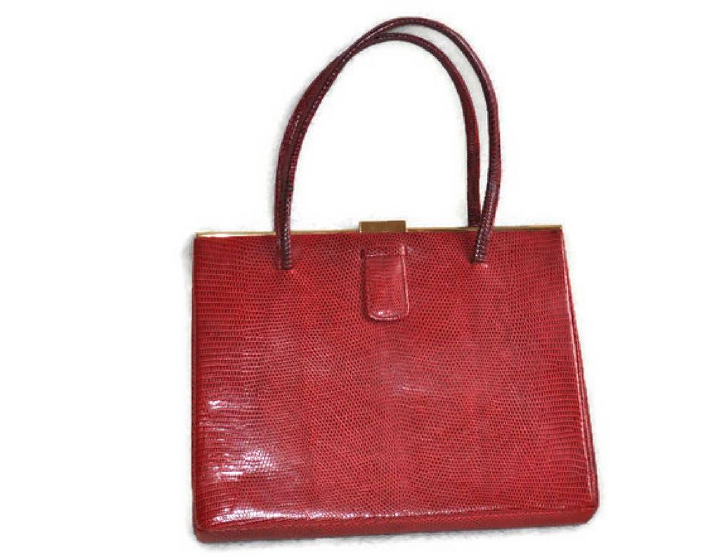 1930s Red Lizard Skin Handbag  Vintage Art Deco Red Handbag  Metal Frame