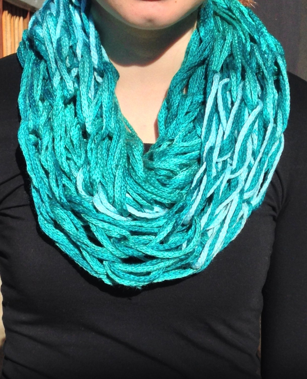 Arm Knit Infinity Scarf; Arm Knit Scarf; Handmade Scarf - Womens Scarf - AphyNAngelDesigns