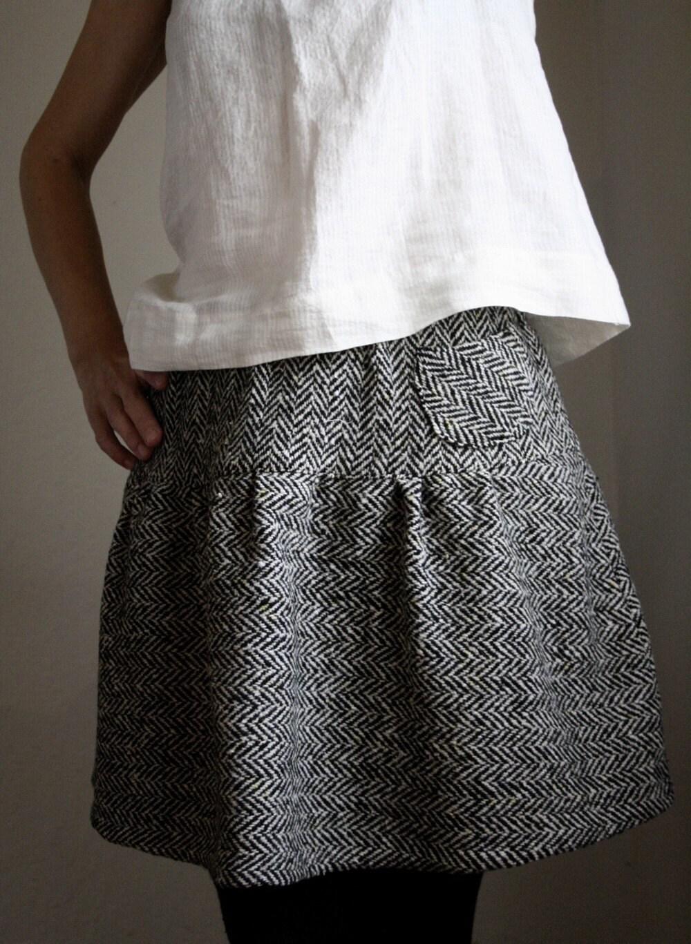 floppy wool skirt - herringbone
