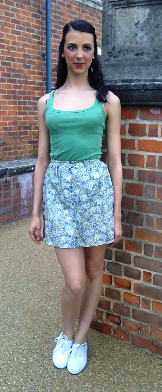 Green floral patterned skirt, handmade from a vintage blouse