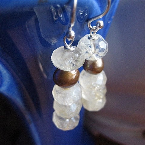 Sparkling Citrine and Freshwater Pearl Stack Earrings
