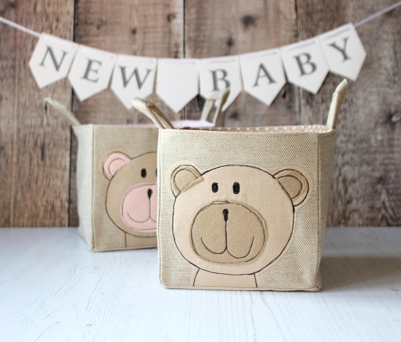 Nursery Storage Basket storage bin nursery tidy nappy storage christening gift teddy bear baby mother gift