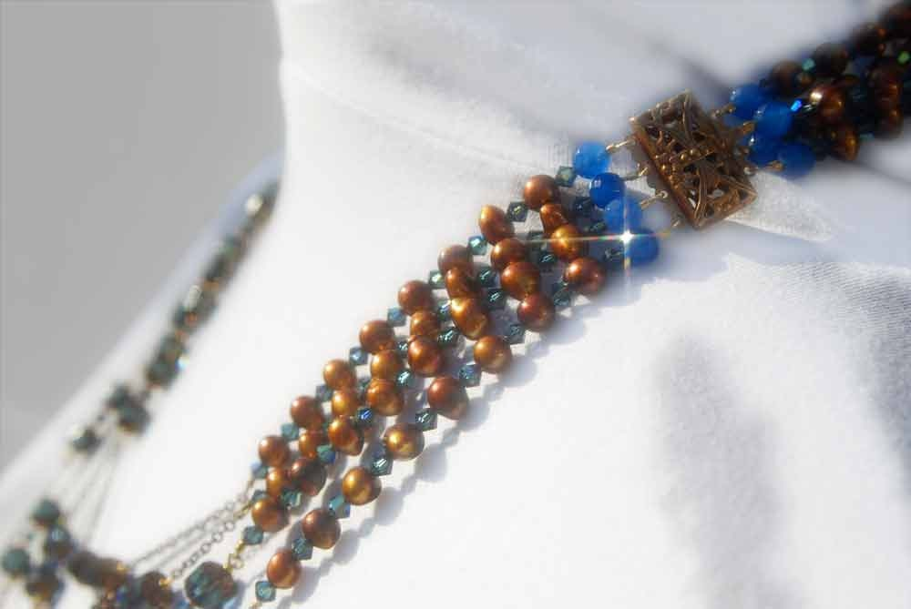 4 Strand  Czech Cathedral Montana (deep teal), Swarovski Crystal Montana, Saphire  beads, and Freshwater Pearls with Copper