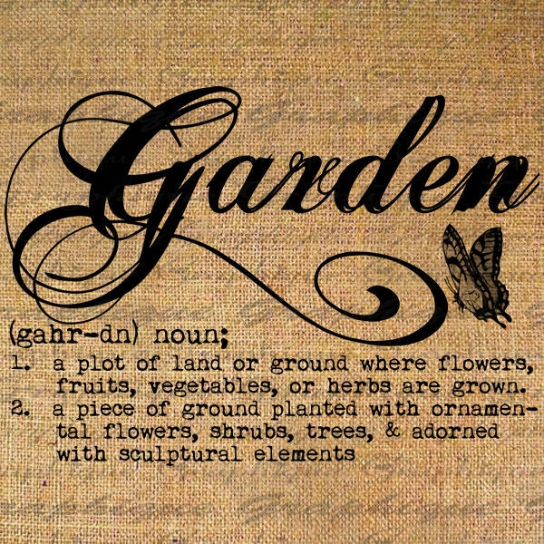 Definition Garden Text Typography Words Digital Image By
