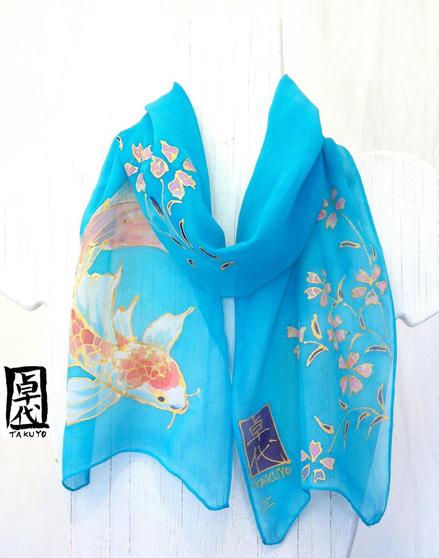 Silk Scarf. Hand Painted. Koi Scarf. Chibi Kimono Scarf. Blue Silk Scarf. Silk Chiffon. Silk Dye. 7x50 in. Made to order. - SilkScarvesTakuyo