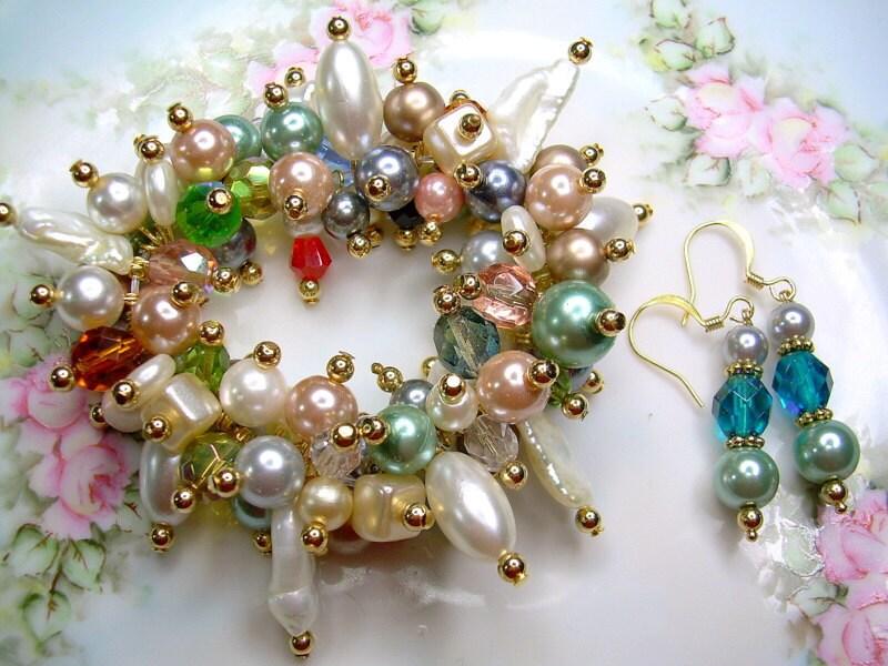 Pearl Dreams - Swarovski Pear and Crystal Bracelet Set