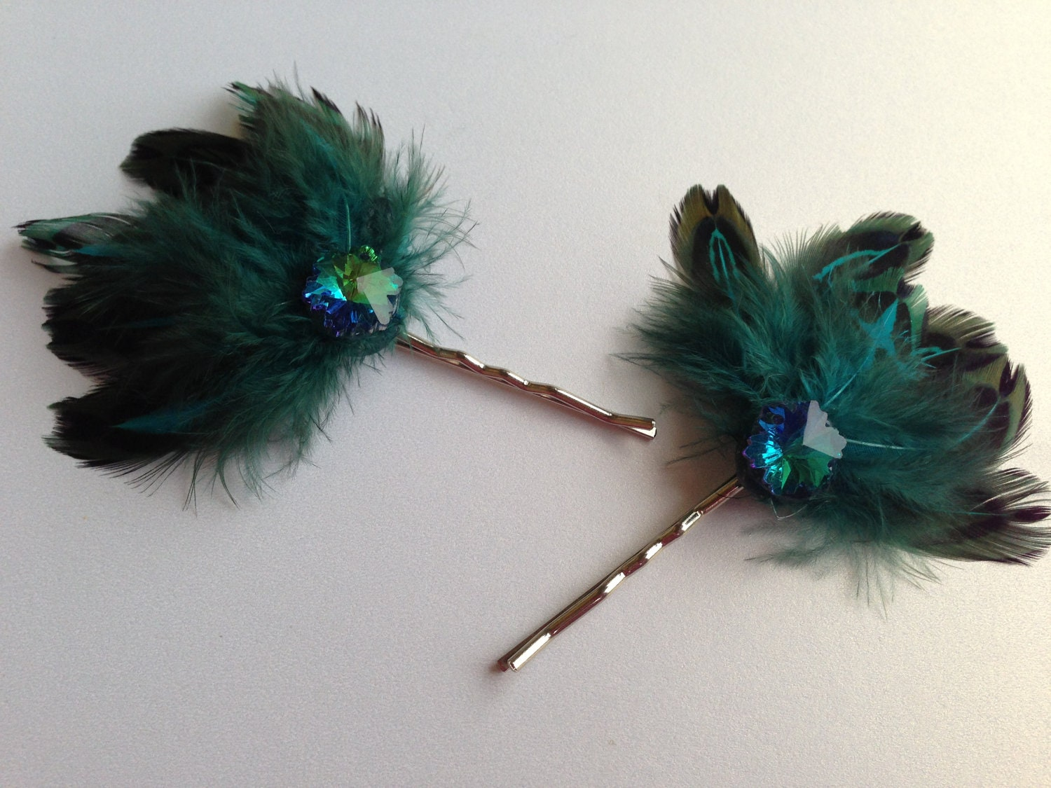 Peacock Feathers Hair Pins, Teal Wedding Hair Flowers, Bobby Pin Set, Bridal Hair Pins - BlissfulPetals
