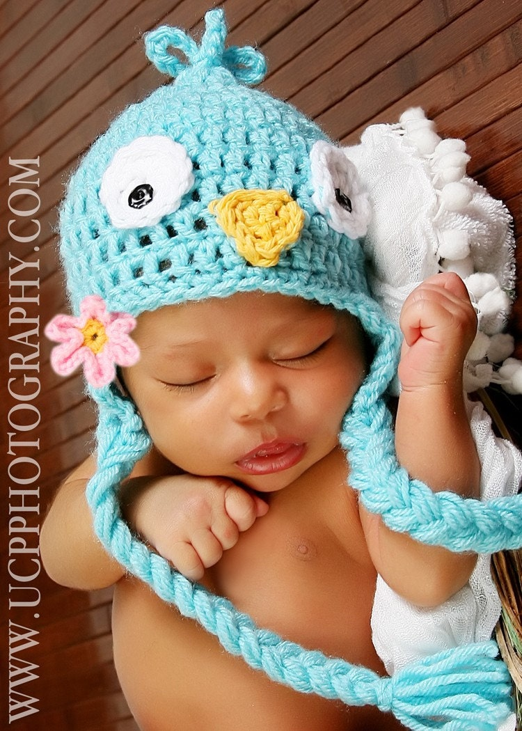 Newborn to 3mo Adorable Bluebird Hat with braids for BOY OR GIRL with clip on pink fllower hat also available in Black Red or Yellow