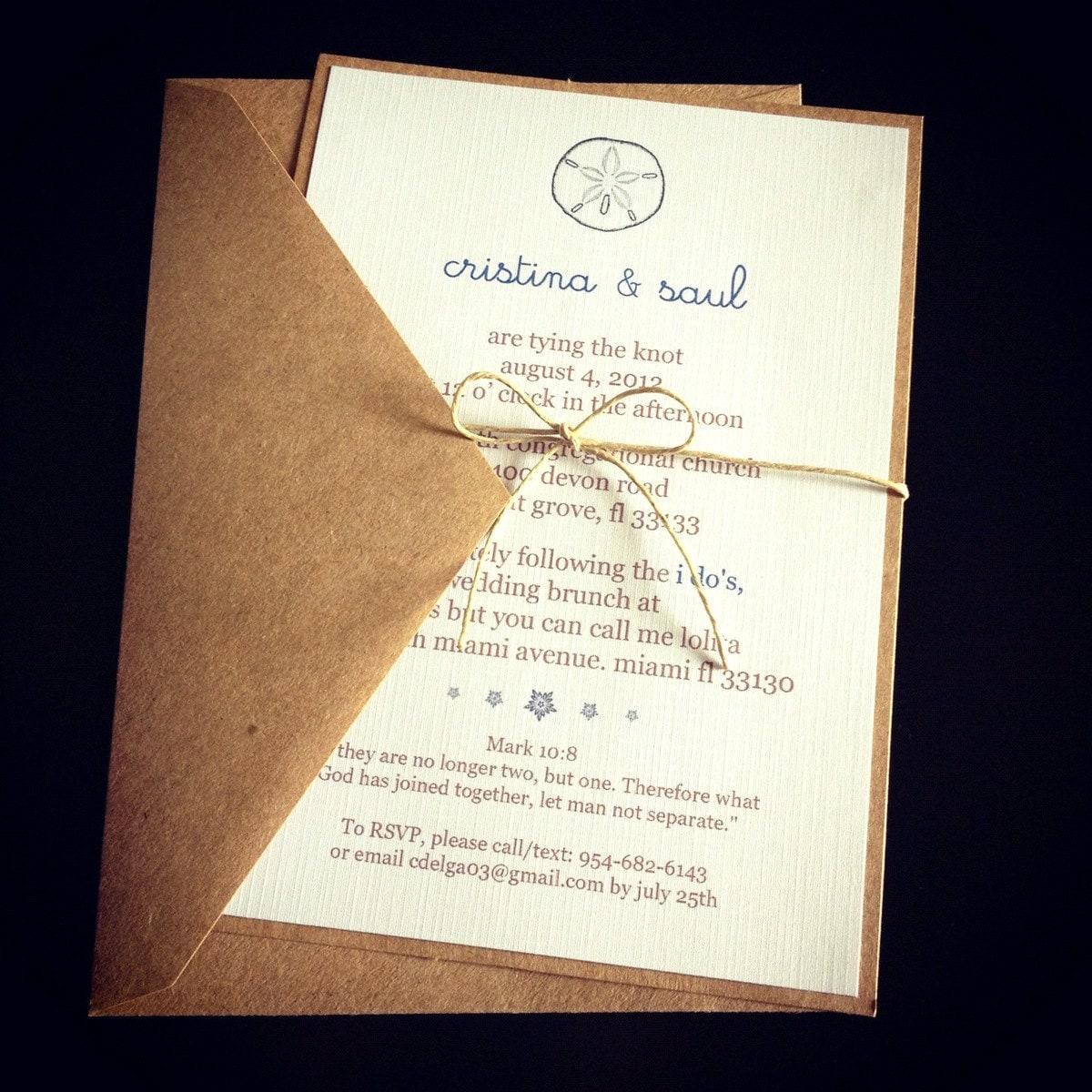 Sand dollar wedding invitations by epochdes on etsy for Wedding invitations online etsy