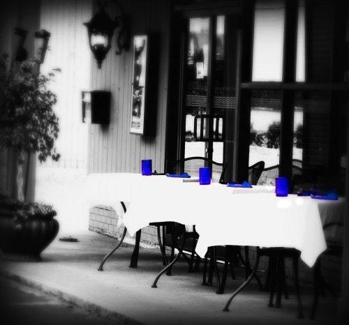 Cafe, Bistro, Fine Art Photograph, Home decor, Wall art, Blue, Minimalist - SevenTen