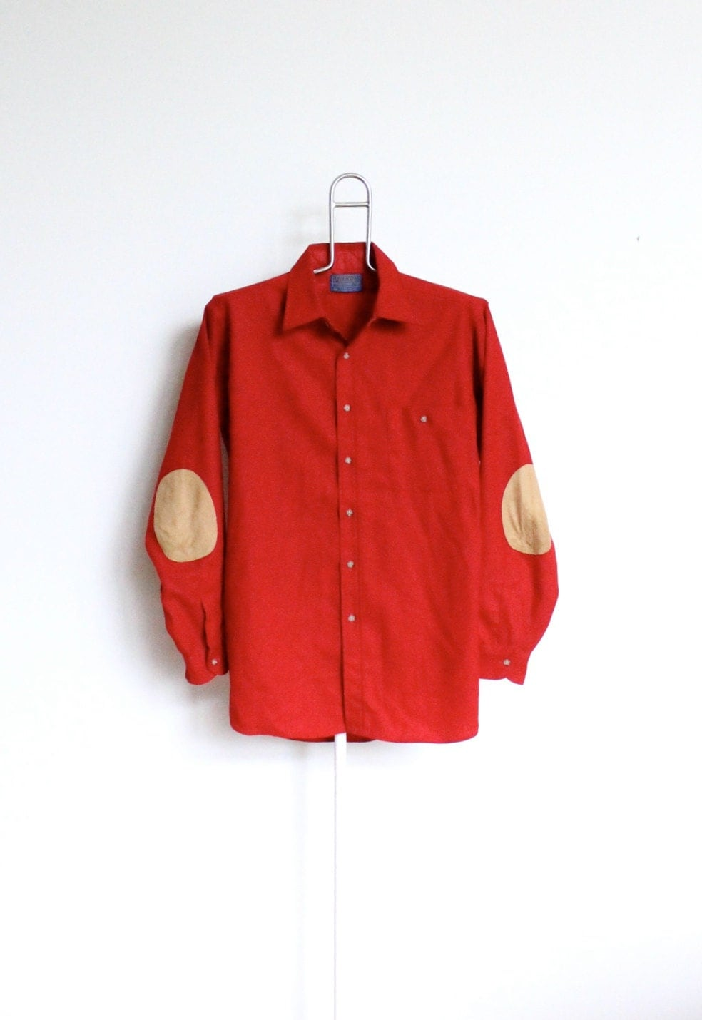 Vintage red wool pendleton shirt mens large by for Mens red wool shirt