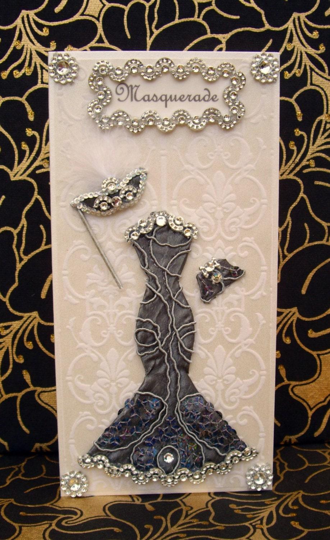 Masquerade Dress Card / Personalised / Handmade Greeting Card
