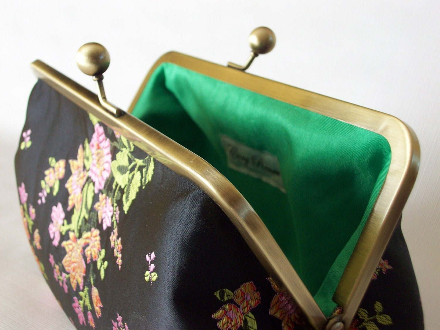 Pretty Little Flowers and Black and Green clutch Purse