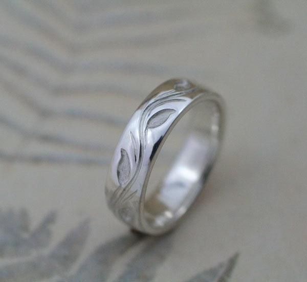 WEDDING BAND 55mm Leaf and Vine Design This Ring in Sterling Silver