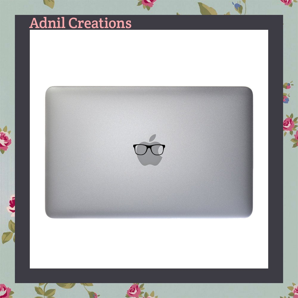 Mac Decal Hipster Glasses Nerd Apple Macbook Laptop Sticker Mac Stickers Specs Spectacles Geek Chic Eyewear Stylish Glasses