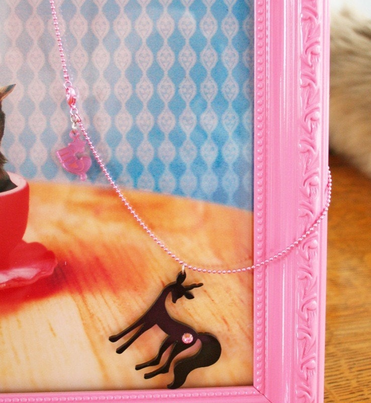 Deericorn Miseducated Pendant - Limited Edition Black Silhouette - Pink Lobster-Clasp Chain