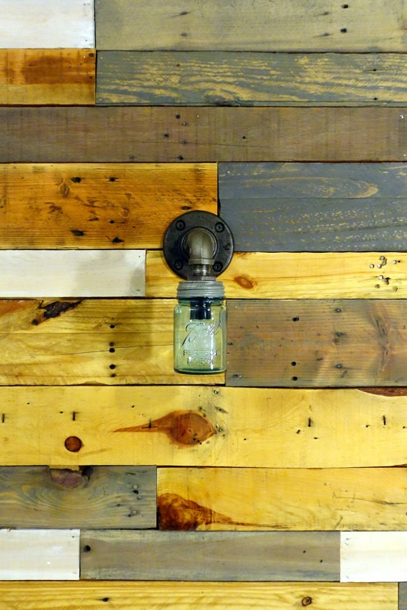 Small Black Wall Sconces : Small Mason Jar Wall Sconce Light Black Iron by ConshyUpcycle