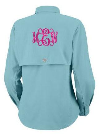 Items similar to monogrammed tamiami ii columbia pfg for Custom embroidered columbia fishing shirts