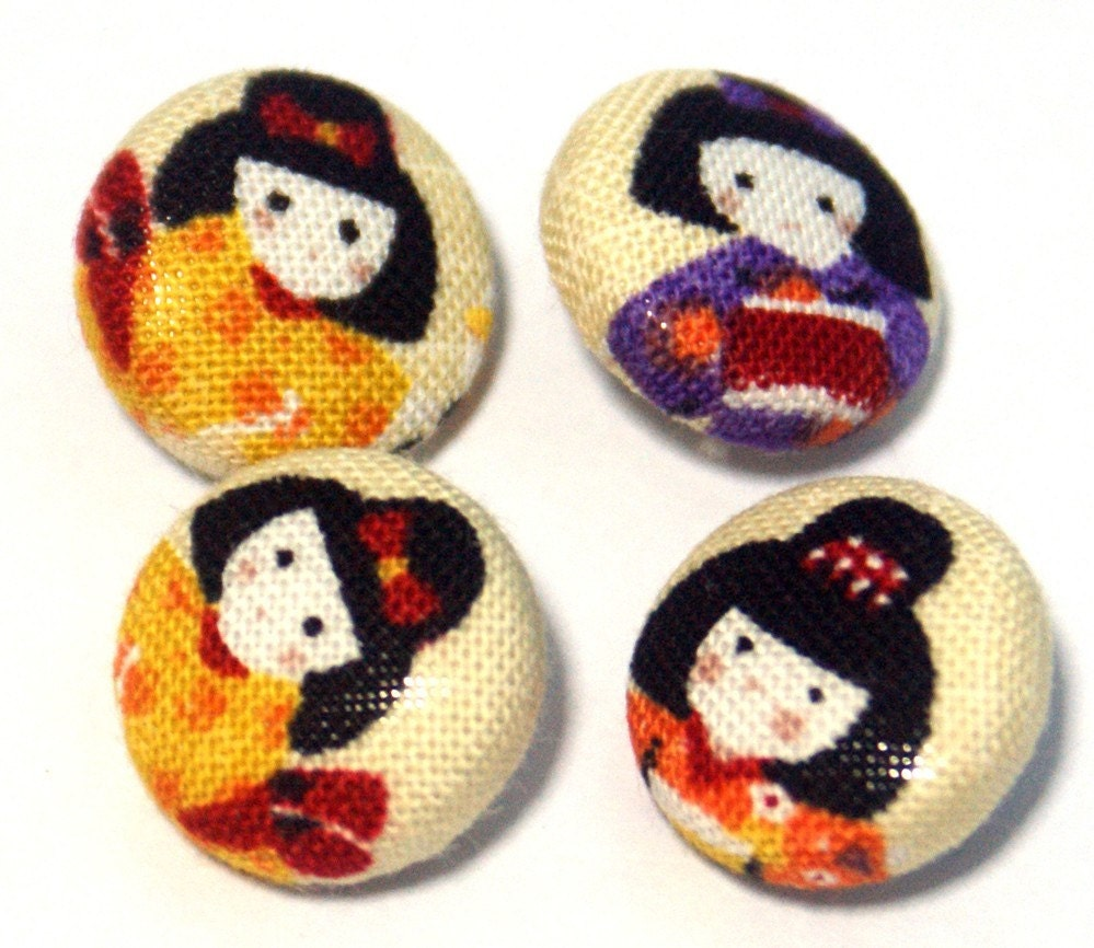 Playing Girls on Yellow - Mini Fabric Sew On Buttons