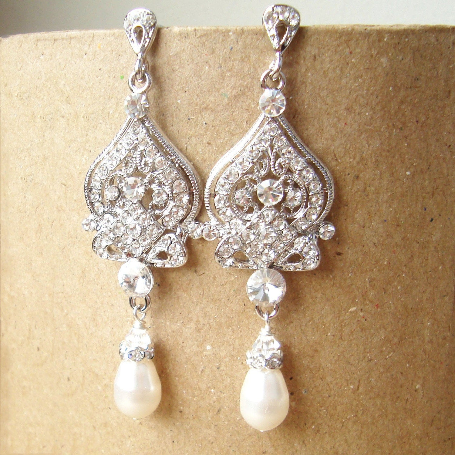 Rhinestone Chandelier Bridal Earrings Vintage Style By
