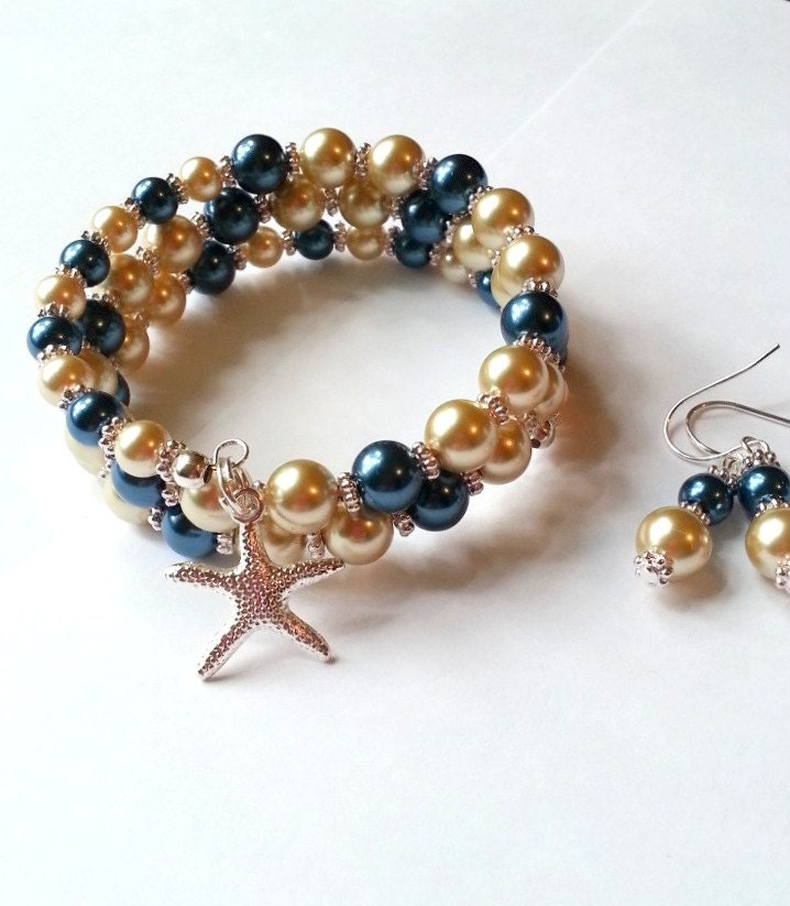 Almond and blue pearl bracelet, starfish charm bracelet and matching earrings - beachseacrafts
