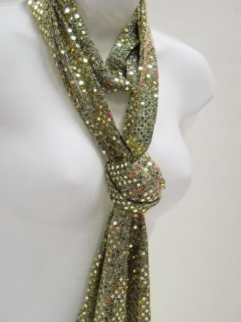 Sparkly Jersey Knit Scarf - Narrow Gold Scarf - by Stitchknit