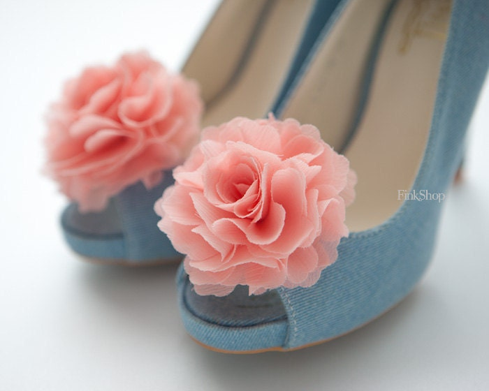 Ruffle Chiffon Flower shoe clips, Peach pink, Light Coral pink