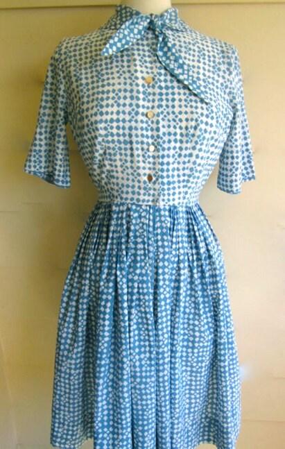 Vintage 1950s Blue Mosaic Rayon Dress - M