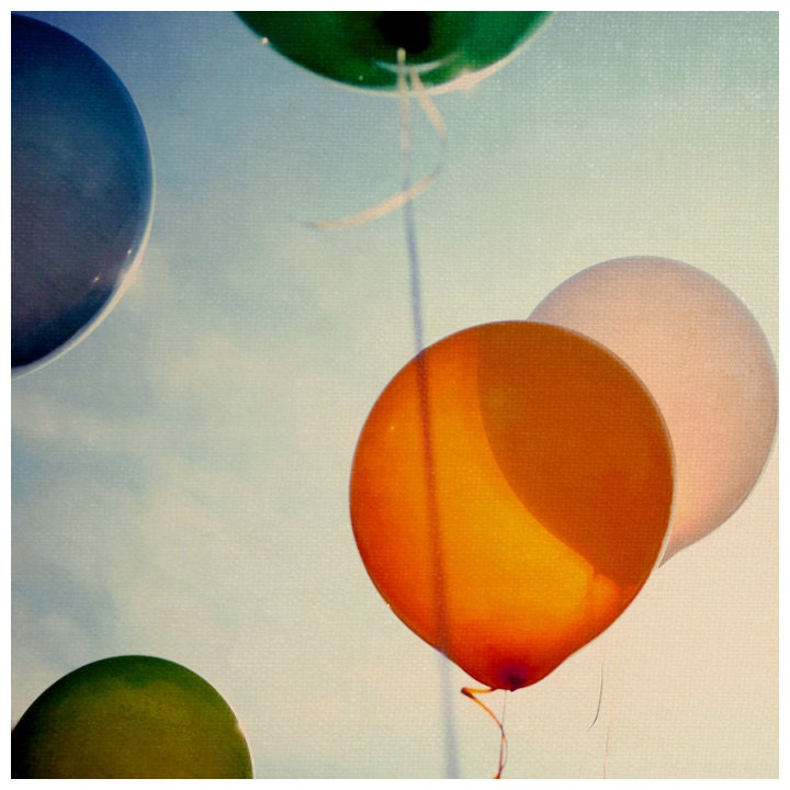 Balloon Photograph - Summer Photography - Fine Art Photography - Happiness -  Original Art - Color - Orange - Pink - Fun - AliciaBock