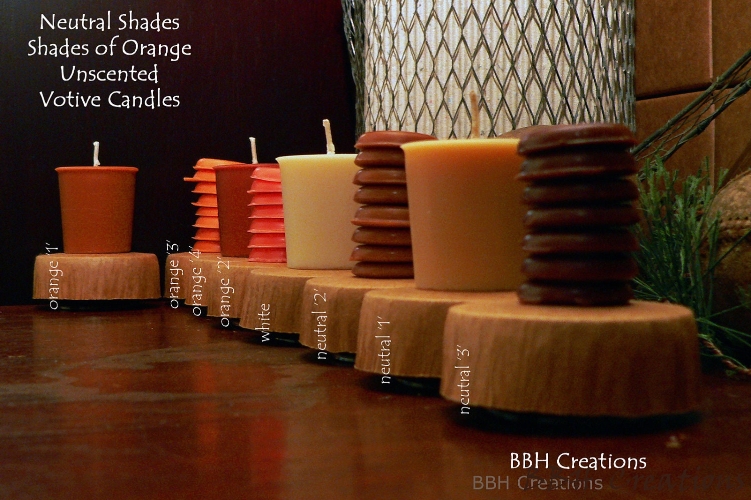 cream . chocolate . orange . eight pack of same color unscented soy votive candles . add . fragrance free..  ambiance to any table decor . - BBHCreations