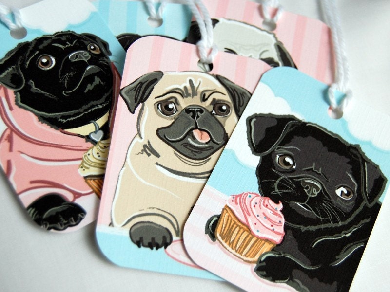 Cupcake Pug Gift Tags - Set of 5