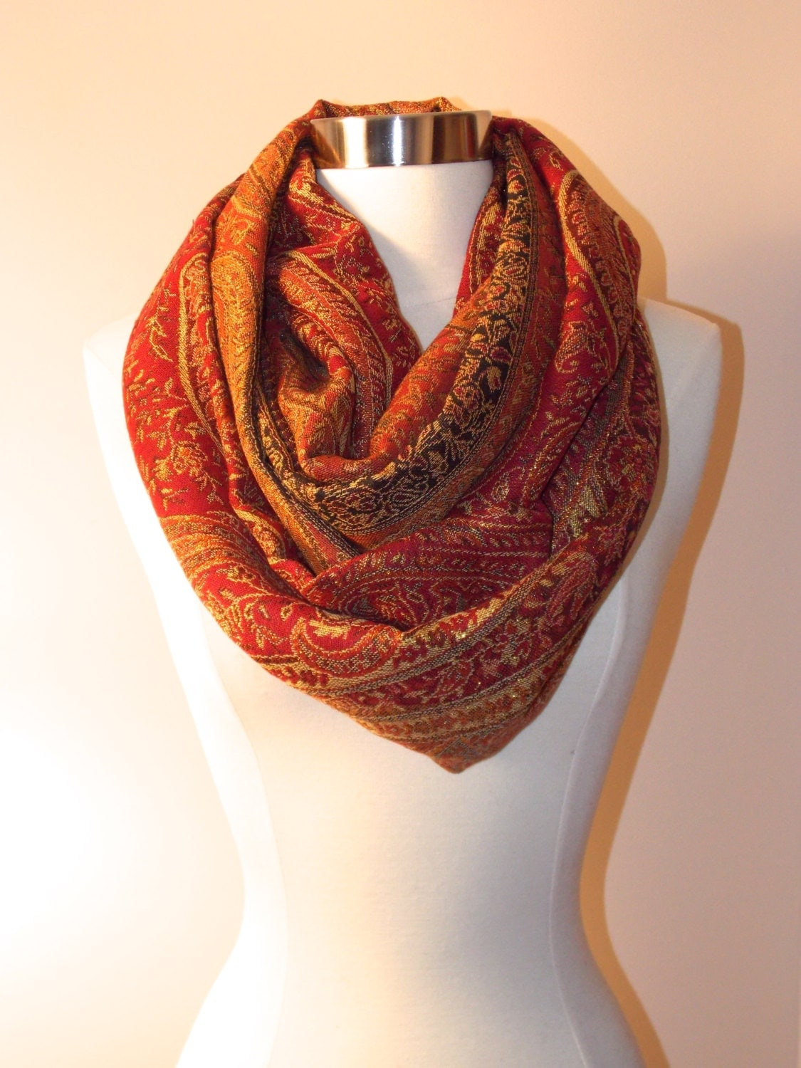 20 % off Autumn pashmina paisley infinity scarf/Christmas scarf/Fall colord scarf/Gold paisley - OllasCreations
