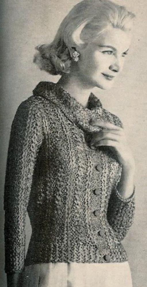 Free Vintage Vogue Knitting Patterns : Vogue Knitting 1960 Shawl Collar Ribbon by vintagemadamedefarge
