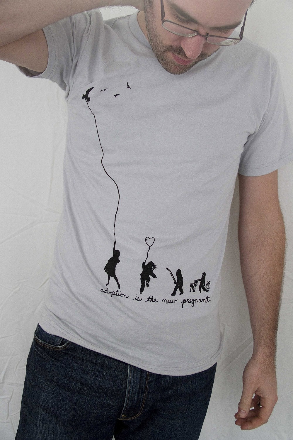 "Silver Unisex TShirt ""adoption is the new pregnant"" - American Apparel XS/S/M/L/XL Free Tote Free S&H"