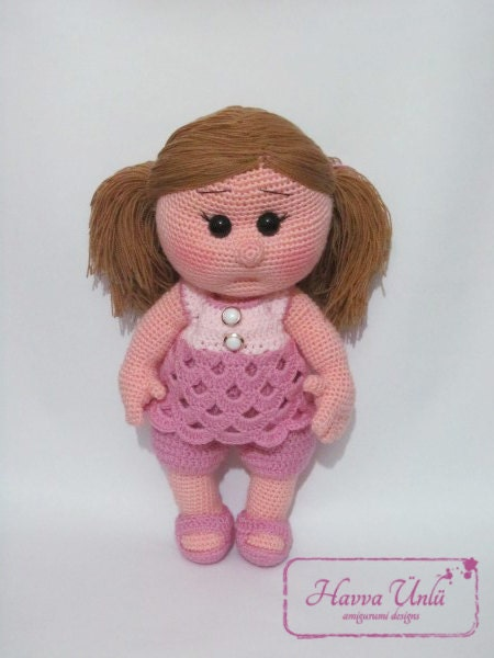 Crochet Doll Pattern Cute : PATTERN So Cute Doll crochet amigurumi by HavvaDesigns on Etsy