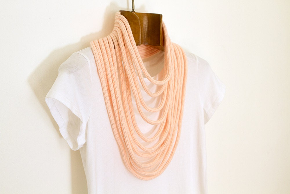 pastel pink knitted necklace