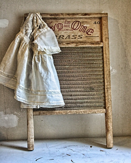 16x20 Print Vintage Antique Washboard Linen Laundry by LEXIBAGS