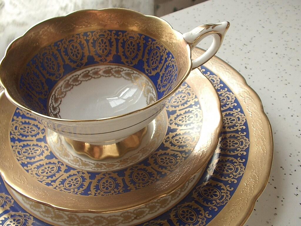antique royal blue tea cup and saucer plate set by. Black Bedroom Furniture Sets. Home Design Ideas