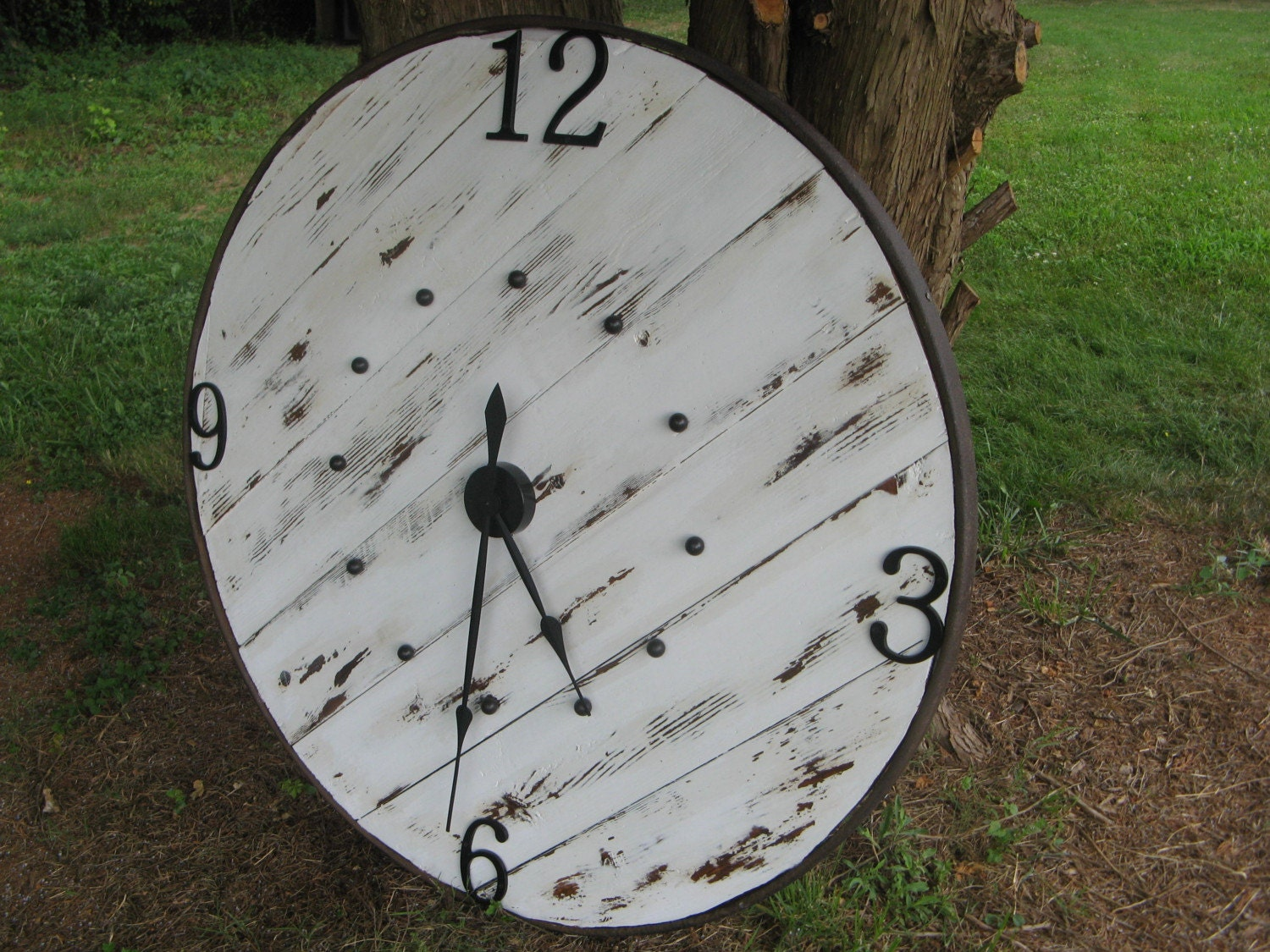 BIG, WHITE FARMHOUSE CLOCK