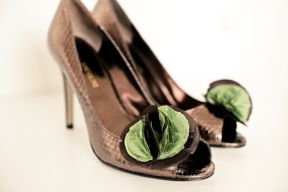 Moss Green and Chocolate Shoe Clips