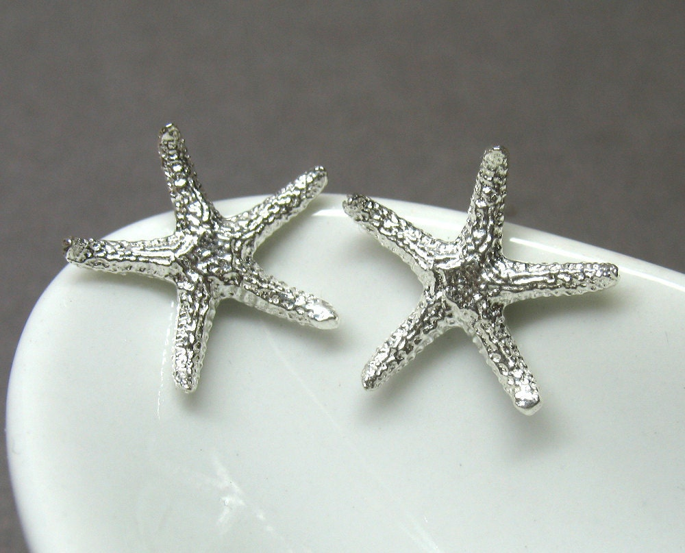 Sterling silver starfish post earrings by AnnieLesperance on Etsy