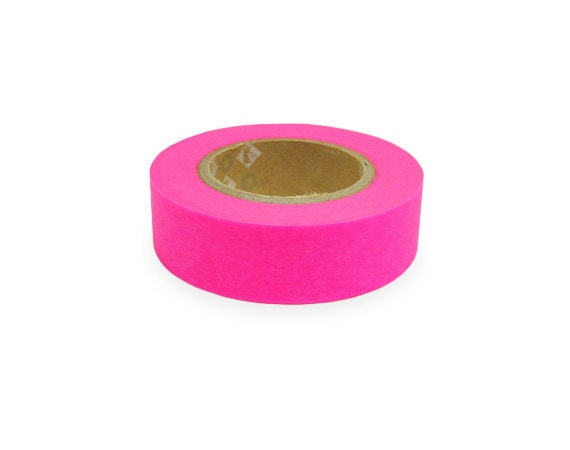 Fluorescent color Japanese Washi Masking Tapes / Hot Pink (15m Long, 50 percent more)