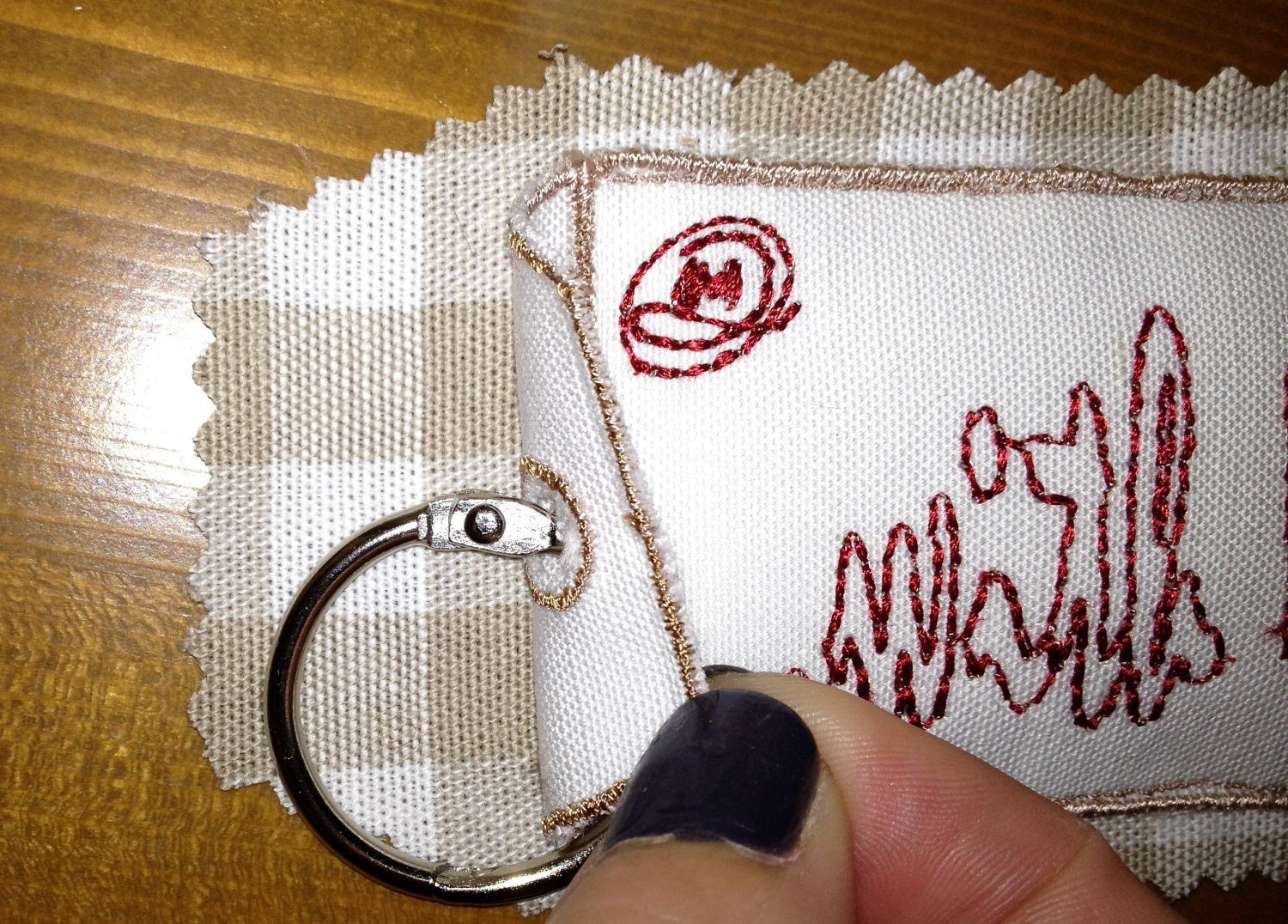 Key Ring - homemade embroidery ...with love, Organic French Lavender