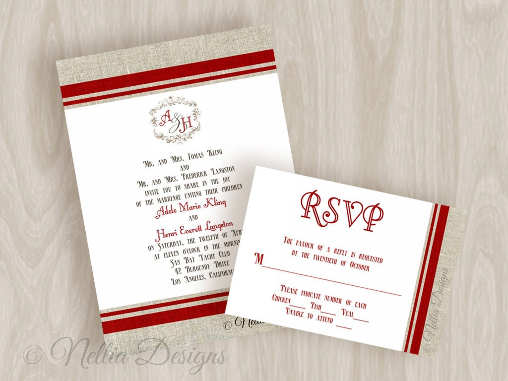 French Burlap Wedding Invitations with RSVP and envelopes From nellybean