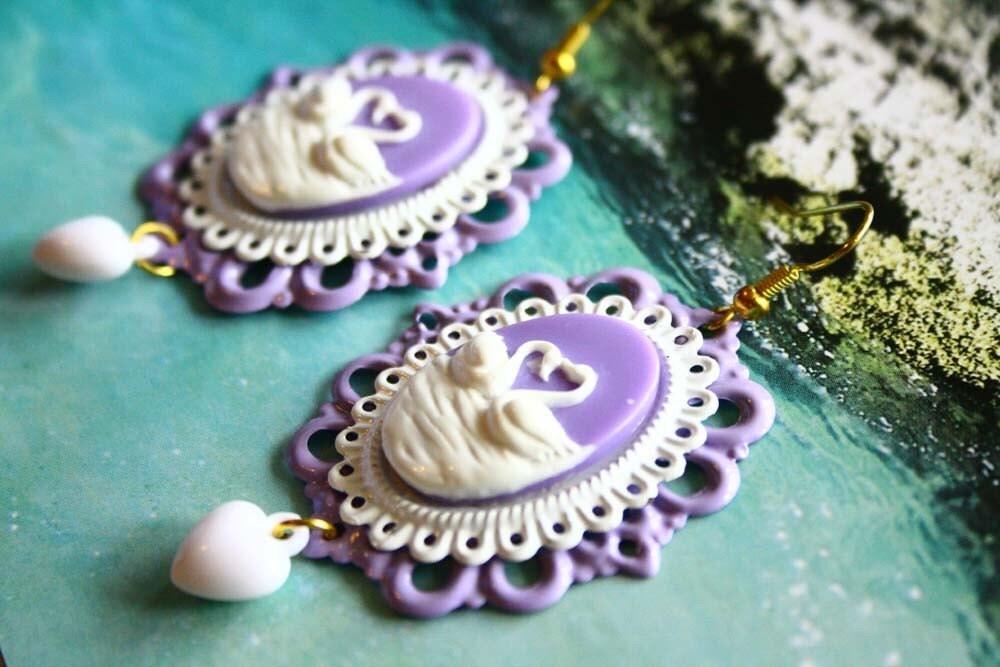 Winter swan in lavender setting earrings.