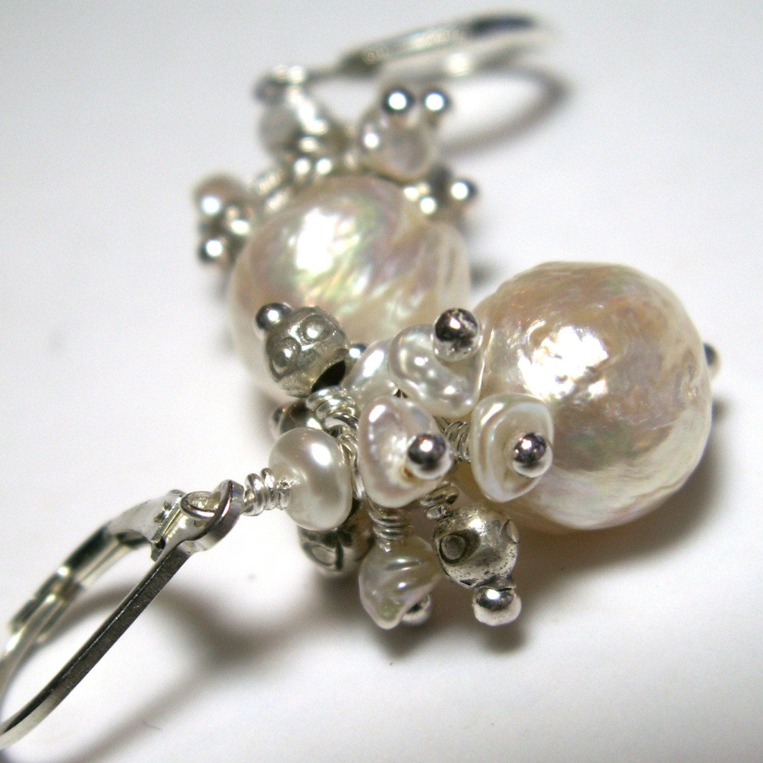 sterling silver earrings large pearls white cluster keshi
