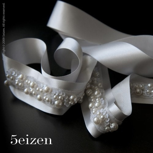Madison Series I - Ivory and Silver Sash Wedding Belt with Pearls - FREE FEDEX SHIPPING