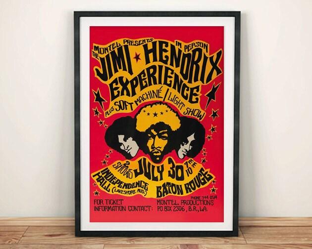 JIMI HENDRIX POSTER Vintage Tour Poster Reproduction Rock Concert Art Print Wall Hanging